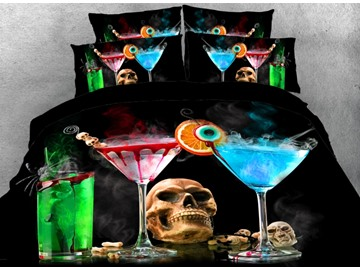 Onlwe 3D Skull with Halloween Drinks Printed 4-Piece Bedding Sets/Duvet Covers