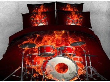 Onlwe 3D Fiery Skeleton Drummer Printed 4-Piece Bedding Sets/Duvet Covers