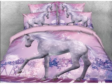 Onlwe 3D Unicorn Walking on Suspension Bridge Printed 4-Piece Bedding Sets/Duvet Covers