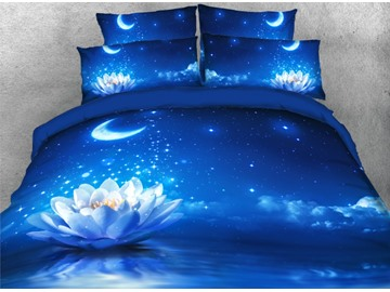 Onlwe 3D Lotus under the Moonlight Printed 4-Piece Blue Bedding Sets/Duvet Covers