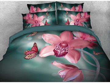 Onlwe 3D Elegant Butterflies with Flowers Printed 4-Piece Bedding Sets/Duvet Covers
