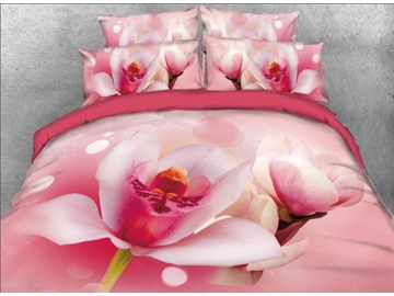 Onlwe 3D Pink Lotus Printed 4-Piece Bedding Sets/Duvet Covers