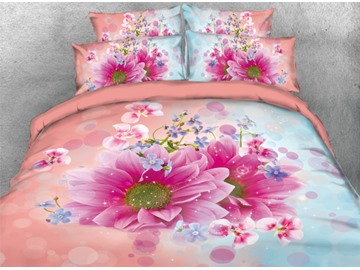 Onlwe 3D Fancy Pink and Blue Dasiy Printed 4-Piece Bedding Sets/Duvet Covers