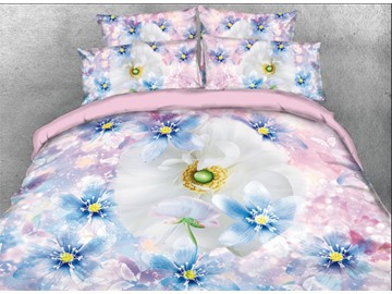 Onlwe 3D White and Blue Daisy Printed 4-Piece Pink Bedding Sets/Duvet Covers