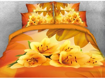 Onlwe 3D Yellow Lily Printed 4-Piece Bedding Sets/Duvet Covers