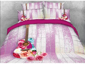 Onlwe 3D Rose Guitar Printed 4-Piece Bedding Sets/Duvet Covers