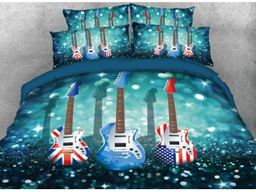 Onlwe 3D Flag Guitars Printed 4-Piece Blue Bedding Sets/Duvet Covers