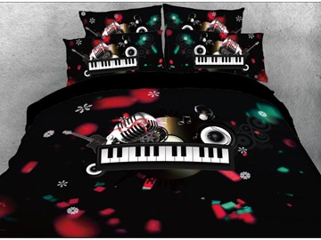 Onlwe 3D Christmas Microphone and Keyboard Melody Printed 4-Piece Bedding Sets/Duvet Covers