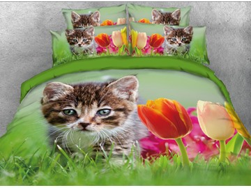Vivilinen 3D Cat and Tulips Grass Lwan Printed 4-Piece Bedding Sets/Duvet Cover