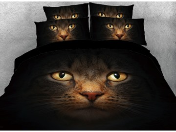 Onlwe 3D Hidden Cats Printed Dark 4-Piece Bedding Sets/Duvet Cover