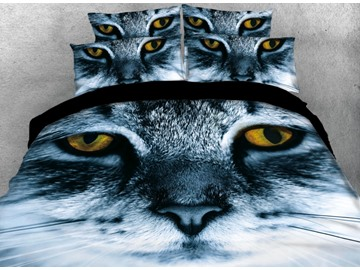 Vivilinen Scary Cat with Yellow Eyes Printed 4-Piece 3D Bedding Sets/Duvet Cover