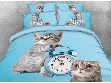 Cute Cats and Clock Printed Blue 4-Piece 3D Bedding Sets/Duvet Cover