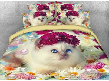 Vivilinen Elegant Cat and Colorful Daisy Printed 4-Piece 3D Bedding Sets/Duvet Cover