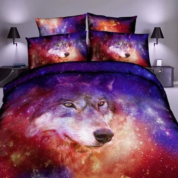 3D Wolf and Colorful Galaxy Space Printed Polyester Bedding Sets/Duvet Cover