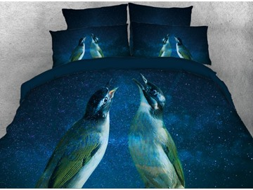 Vivilinen 3D Couple Birds and Galaxy Stars Printed 4-Piece Bedding Sets/Duvet Cover