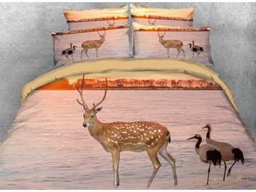 Vivilinen 3D Sika Deer and Seabirds Printed 4-Piece Bedding Sets/Duvet Cover