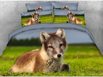 Vivilinen 3D Baby Wolf Lying on the Grass Printed 4-Piece Bedding Sets/Duvet Covers