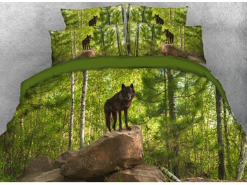 Onlwe 3D Wolf Standing on the Stone at Jungle Printed 4-Piece Bedding Sets/Duvet Covers