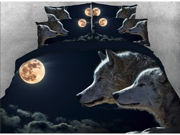 Onlwe 3D Wolves under Moonlight Darkness Night Printed 4-Piece Bedding Sets/Duvet Covers