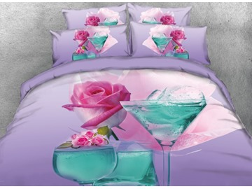 Onlwe 3D Pink Flower and Blue Drinks Printed 4-Piece Bedding Sets/Duvet Cover