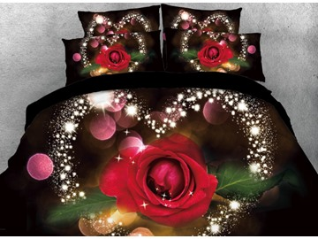Onlwe 3D Red Flowers Crystal Love Shape Printed 4-Piece Bedding Sets/Duvet Cover
