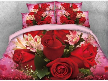 Onlwe 3D Red Flowers and White Lily Printed 4-Piece Bedding Sets/Duvet Cover
