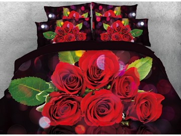 Onlwe 3D Bouquet of Red Flowers Printed 4-Piece Bedding Sets/Duvet Cover