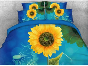Onlwe 3D Sunflower and Dandelion Printed 4-Piece Bedding Sets/Duvet Cover