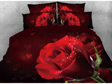Onlwe 3D One Red Rose Printed 4-Piece Bedding Sets/Duvet Cover