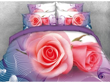 Onlwe 3D Pink Roses Printed 4-Piece Bedding Sets/Duvet Cover