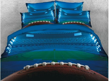 Onlwe 3D Rugby Football and Field Printed Blue 4-Piece Bedding Sets/Duvet Cover