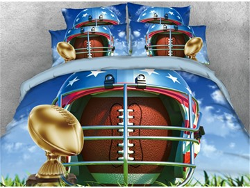 Onlwe 3D Rugby Football and Gold Trophy Printed 4-Piece Bedding Sets/Duvet Cover