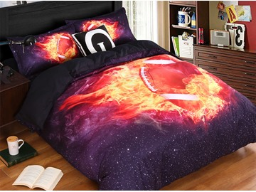 Onlwe 3D Rugby Football on Fire Printed Black 4-Piece Bedding Sets/Duvet Cover