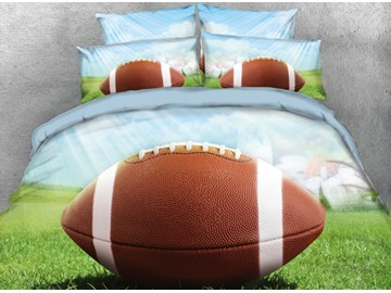 Onlwe 3D Single Rugby Football in Field Printed 4-Piece Bedding Sets/Duvet Cover