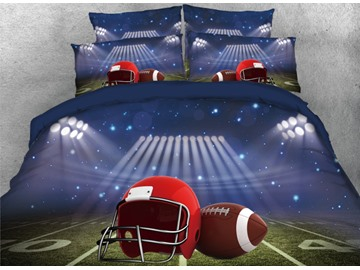 Onlwe 3D Rugby Football and Playing Field Printed 4-Piece Bedding Sets/Duvet Cover