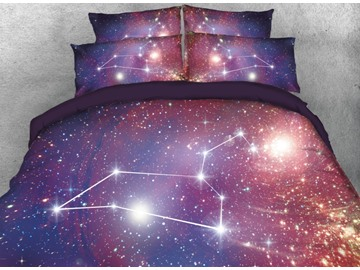 Onlwe 3D Galaxy Leo Printed 4-Piece Bedding Sets/Duvet Covers