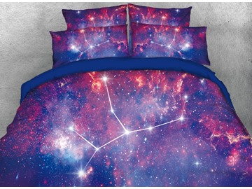 Onlwe 3D Galaxy Virgo Printed 4-Piece Bedding Sets/Duvet Covers