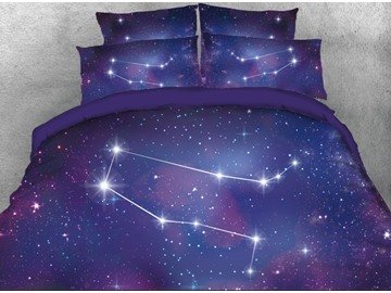 Onlwe 3D Galaxy Gemini Printed 4-Piece Bedding Sets/Duvet Covers