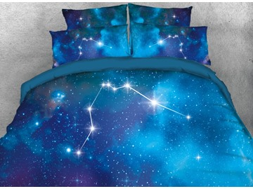 Onlwe 3D Galaxy Aquarius Printed 4-Piece Bedding Sets/Duvet Covers