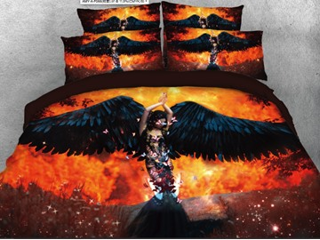 Onlwe 3D Beauty with Black Wings Printed 4-Piece Bedding Sets/Duvet Covers