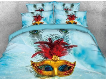 Onlwe 3D Mask with Red Feather Printed 4-Piece Blue Bedding Sets/Duvet Covers