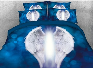 Onlwe 3D Angle Light with White Wings Printed 4-Piece Blue Bedding Sets/Duvet Covers