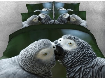 Onlwe 3D Kissing Grey Parrots Printed 4-Piece Bedding Sets/Duvet Cover