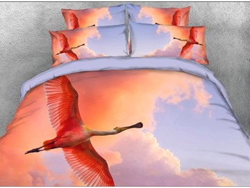 Onlwe 3D Flying Wild Goose Printed 4-Piece Bedding Sets/Duvet Cover