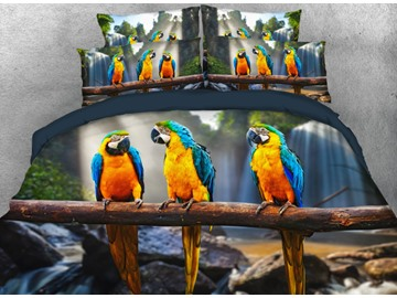 Onlwe 3D Three Blue and Yellow Macaws Printed 4-Piece Bedding Sets/Duvet Cover