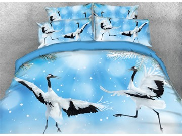 Onlwe 3D Dancing Red-Crowned Crane Printed 4-Piece Bedding Sets/Duvet Cover