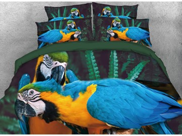 Blue and Yellow Macaw Printed 4-Piece 3D Bedding Sets/Duvet Cover