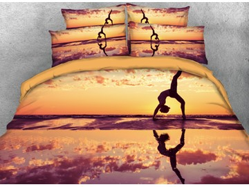 Onlwe 3D Seaside Partner Yoga Printed 4-Piece Bedding Sets/Duvet Cover