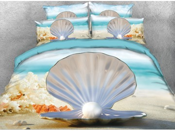 Onlwe 3D Seaside Shell and Pearl Printed 4-Piece Bedding Sets/Duvet Cover