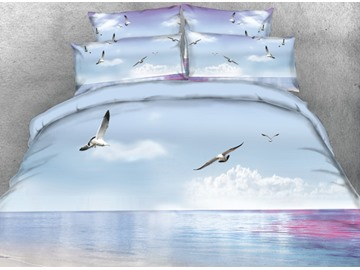 Onlwe 3D Seagulls Flying over Ocean Printed 4-Piece Bedding Sets/Duvet Cover
